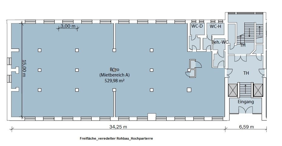 Grundriss Ausbaufläche Hochparterre
